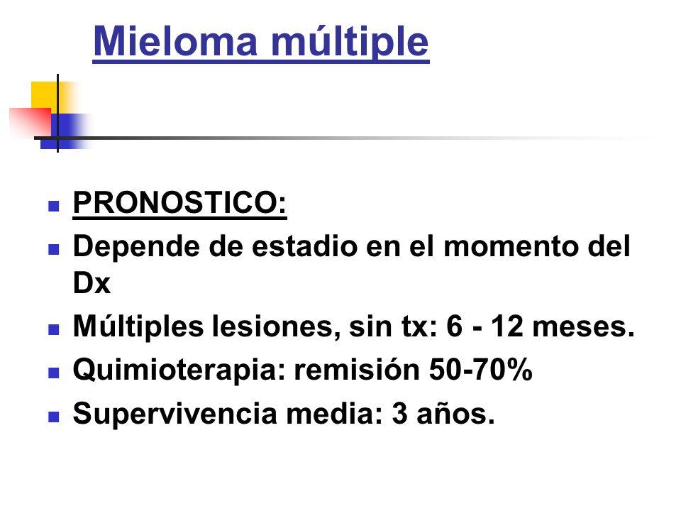 Mieloma múltiple PRONOSTICO: Depende de estadio en el momento del Dx Múltiples lesiones, sin tx: 6 - 12 meses. Quimioterapia: remisión 50-70% Superviv