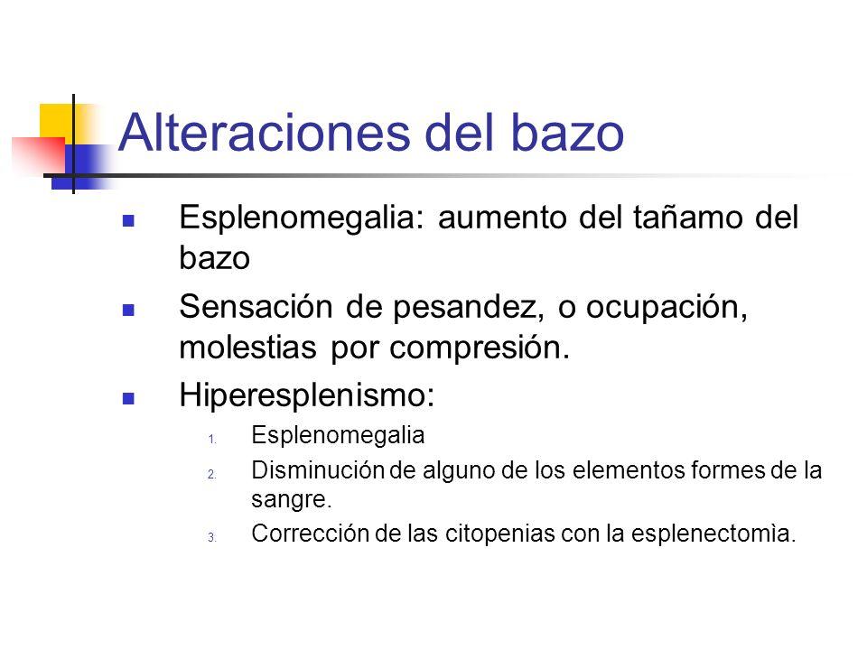 Alteraciones del bazo Esplenomegalia: aumento del tañamo del bazo Sensación de pesandez, o ocupación, molestias por compresión. Hiperesplenismo: 1. Es