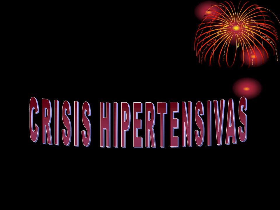 CRISIS HIPERTENSIVAS DEFINICIÓN: - Elevación súbita de la PA - PAD = 120 - Presencia ó ausencia de lesión a órgano blanco - Puede comprometer la vida del paciente