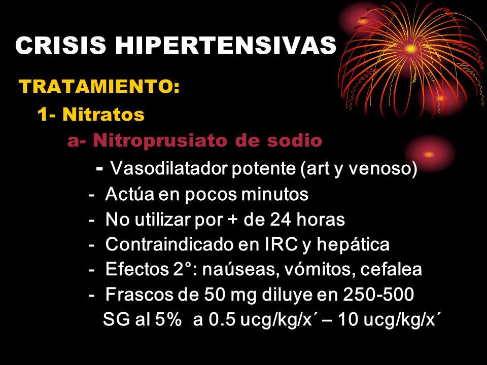 CRISIS HIPERTENSIVAS TRATAMIENTO: 1- Nitratos a- Nitroprusiato de sodio - Vasodilatador potente (art y venoso) - Actúa en pocos minutos - No utilizar