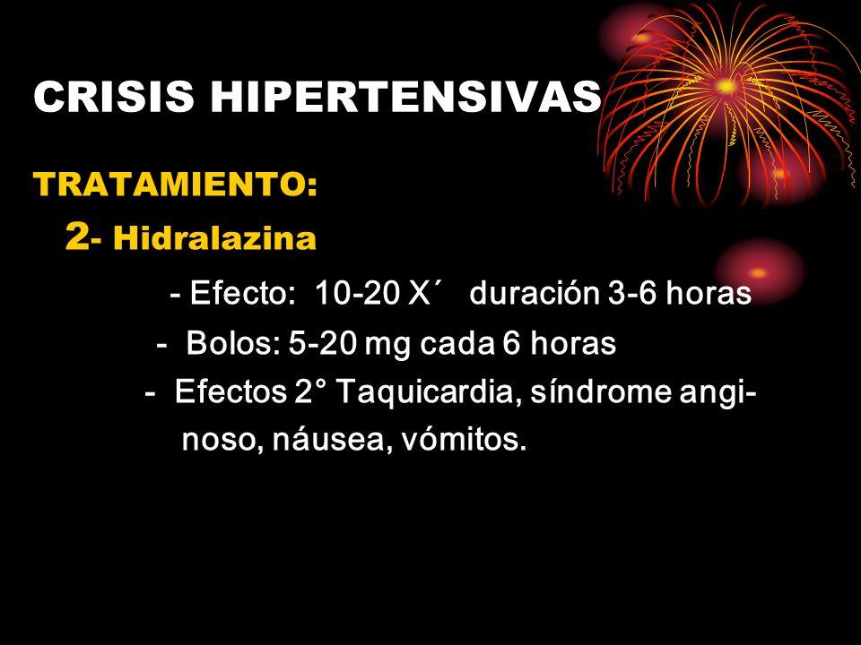 CRISIS HIPERTENSIVAS TRATAMIENTO: 2 - Hidralazina - Efecto: 10-20 X´ duración 3-6 horas - Bolos: 5-20 mg cada 6 horas - Efectos 2° Taquicardia, síndro