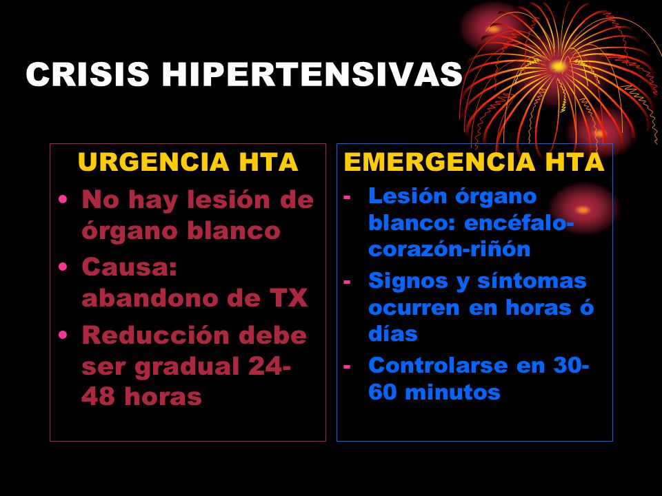 CRISIS HIPERTENSIVAS Neurológico: Encefalopatía hipertensiva Enfermedad cerebro vascular Hemorragia subaracnoidea Cardíaco: Síndrome coronaria aguda Insuficiencia ventricular izquierda Edema agudo de pulmón