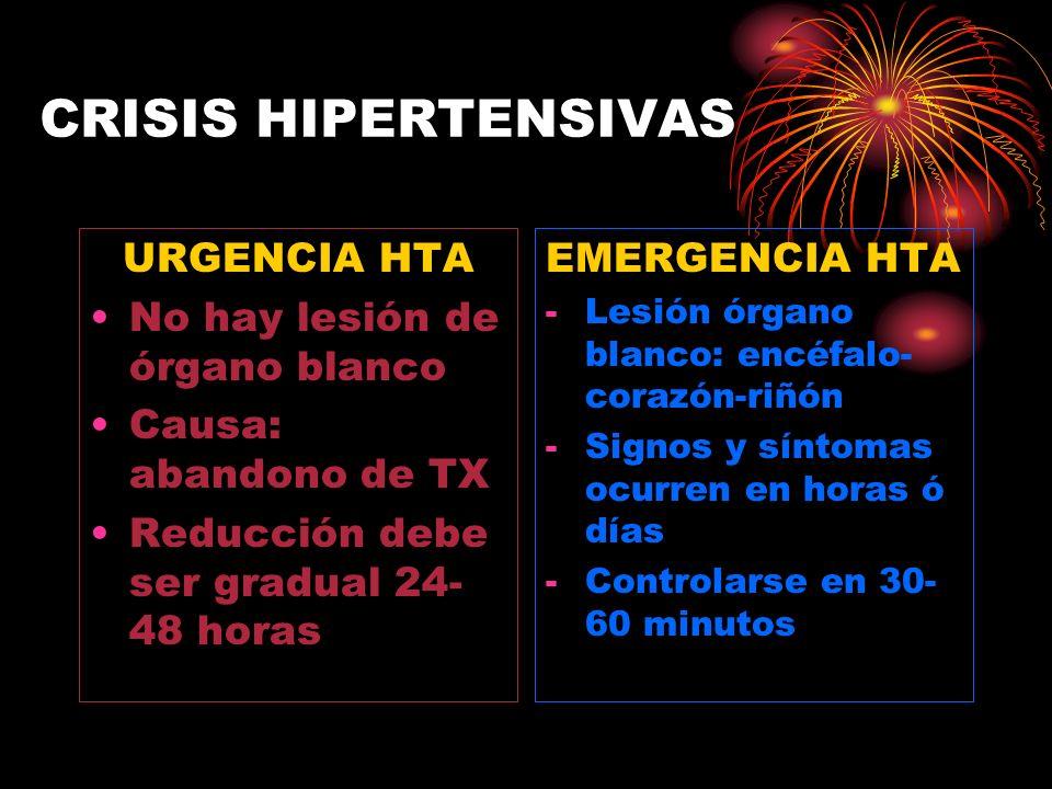 CRISIS HIPERTENSIVAS URGENCIA HTA No hay lesión de órgano blanco Causa: abandono de TX Reducción debe ser gradual 24- 48 horas EMERGENCIA HTA -Lesión