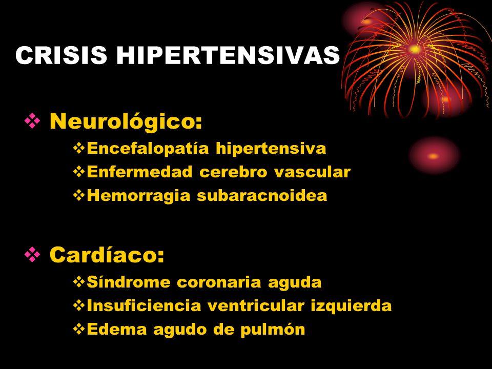 CRISIS HIPERTENSIVAS TRATAMIENTO: 2 - Hidralazina - Efecto: 10-20 X´ duración 3-6 horas - Bolos: 5-20 mg cada 6 horas - Efectos 2° Taquicardia, síndrome angi- noso, náusea, vómitos.