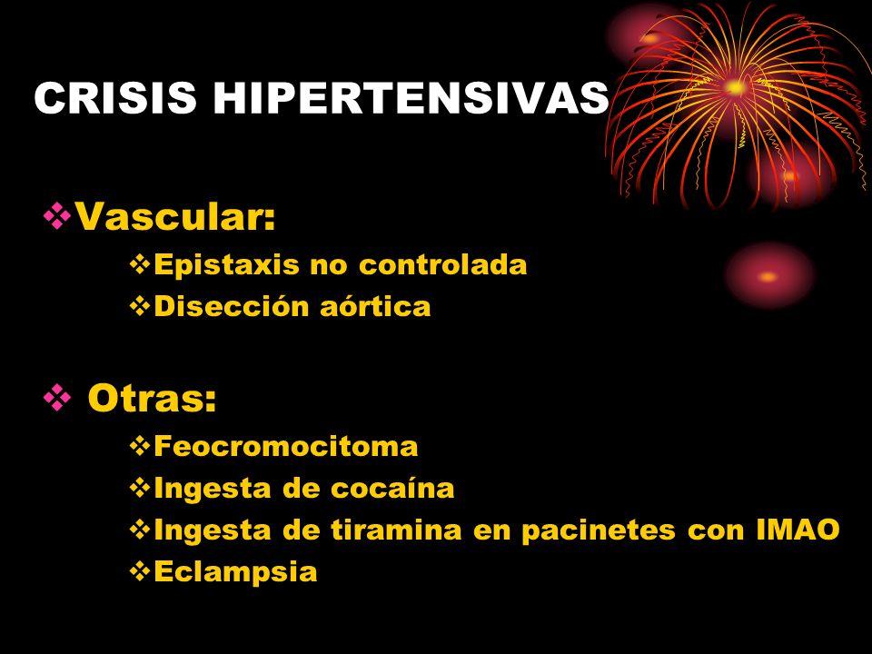 CRISIS HIPERTENSIVAS HIPERTENSIÓN ARTERIAL MALIGNA Lesión rápidamente progresiva PAD > 120-130 mmHg Característica: retinopatía HTA con exudados y hemorragias retinianas Manifestaciones: cefalea, convulsiones, trastornos visuales, falla ventricular izda DX: Micro y macrohematuria, proteinuria y cilindros hialinos ó hemáticos, anemia e hipokalemnia TX: Nitroprusiato- hidralazina