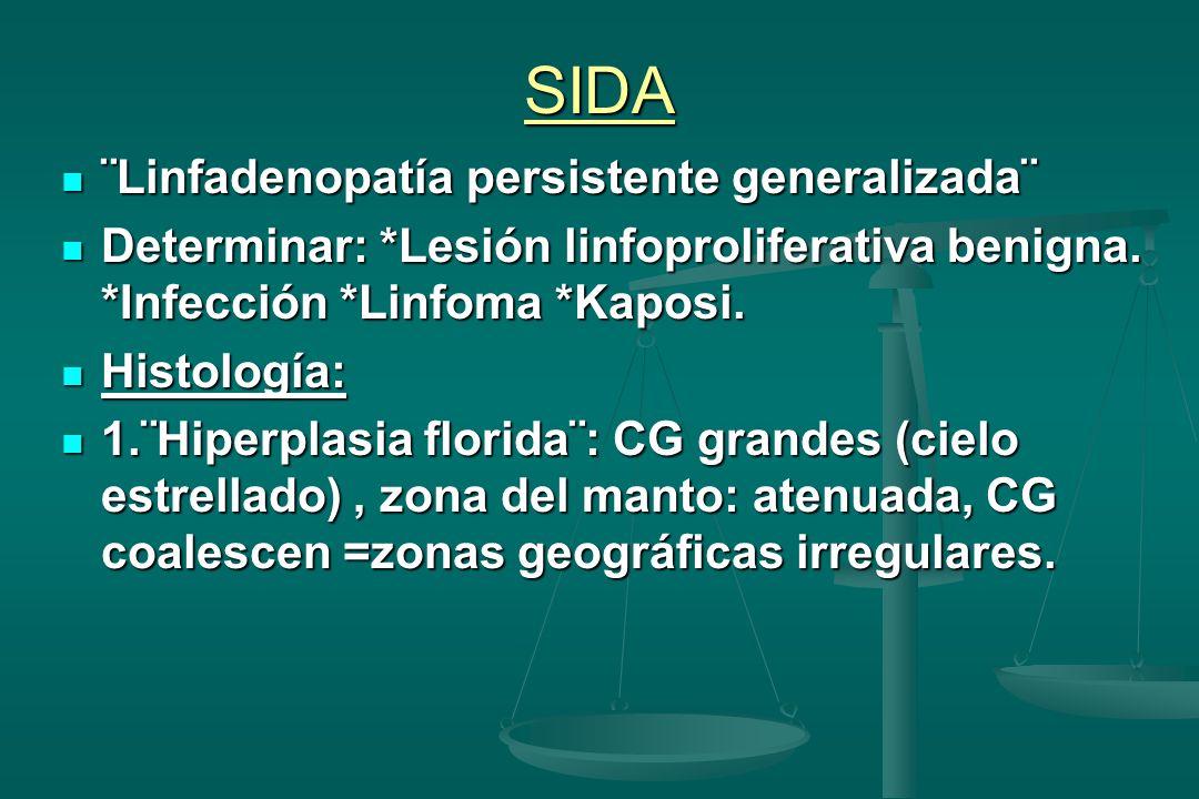SIDA ¨Linfadenopatía persistente generalizada¨ ¨Linfadenopatía persistente generalizada¨ Determinar: *Lesión linfoproliferativa benigna. *Infección *L