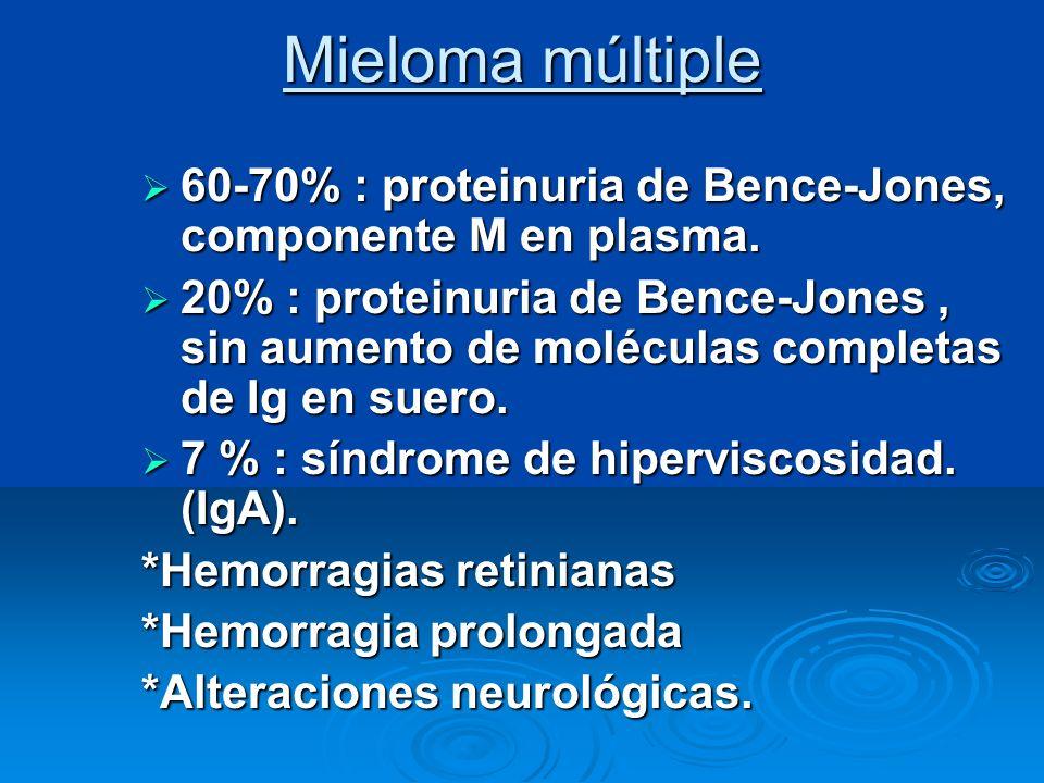 Mieloma múltiple 60-70% : proteinuria de Bence-Jones, componente M en plasma. 60-70% : proteinuria de Bence-Jones, componente M en plasma. 20% : prote