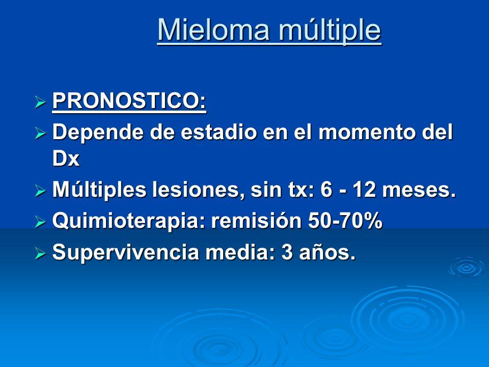 Mieloma múltiple PRONOSTICO: PRONOSTICO: Depende de estadio en el momento del Dx Depende de estadio en el momento del Dx Múltiples lesiones, sin tx: 6