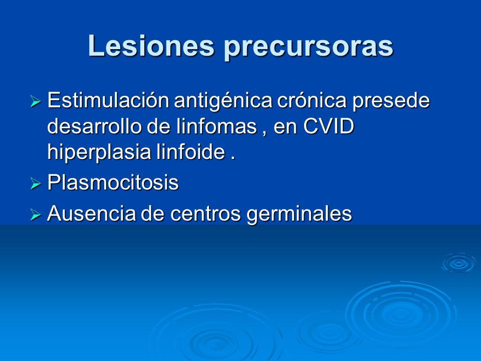 Lesiones precursoras Estimulación antigénica crónica presede desarrollo de linfomas, en CVID hiperplasia linfoide. Estimulación antigénica crónica pre