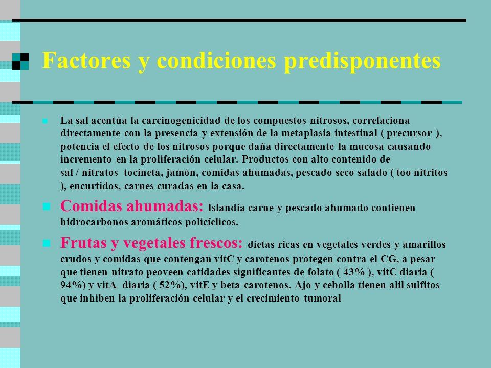 Factores y condiciones predisponentes La sal acentúa la carcinogenicidad de los compuestos nitrosos, correlaciona directamente con la presencia y exte