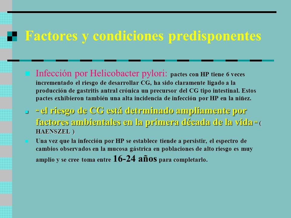 Factores y condiciones predisponentes Infección por Helicobacter pylori: pactes con HP tiene 6 veces incrementado el riesgo de desarrollar CG, ha sido