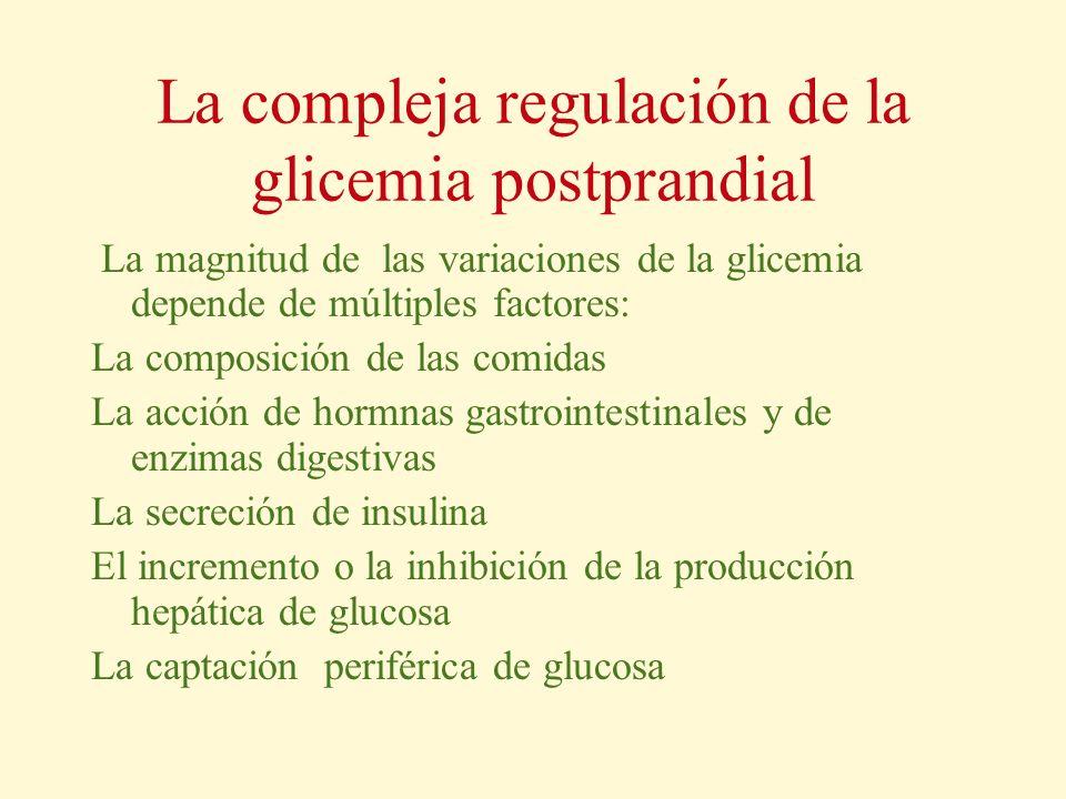 La compleja regulación de la glicemia postprandial La magnitud de las variaciones de la glicemia depende de múltiples factores: La composición de las