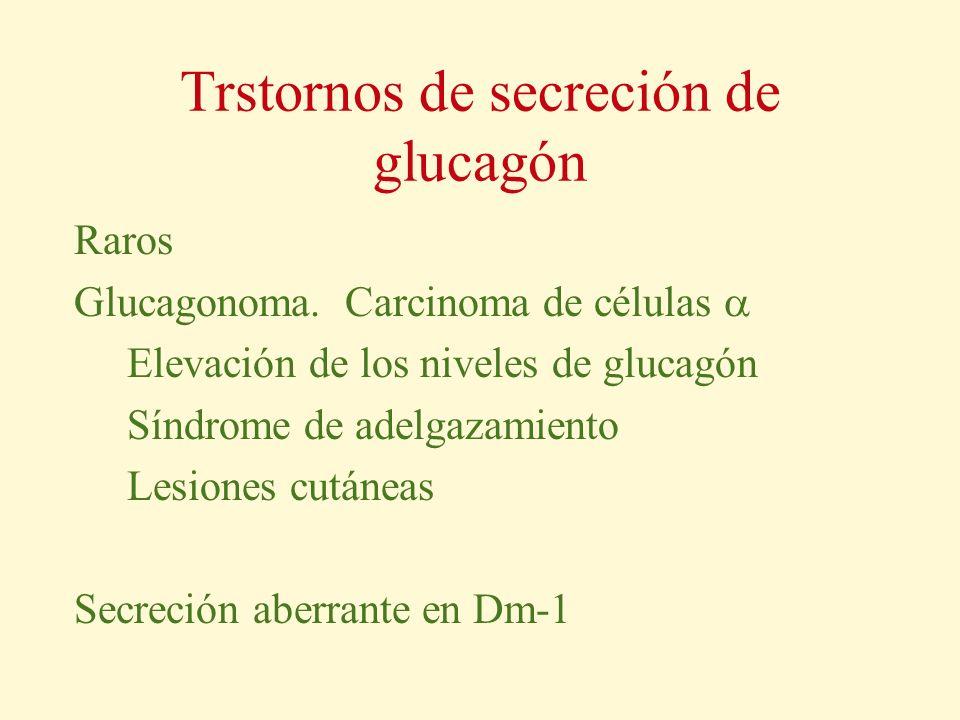Trstornos de secreción de glucagón Raros Glucagonoma. Carcinoma de células Elevación de los niveles de glucagón Síndrome de adelgazamiento Lesiones cu