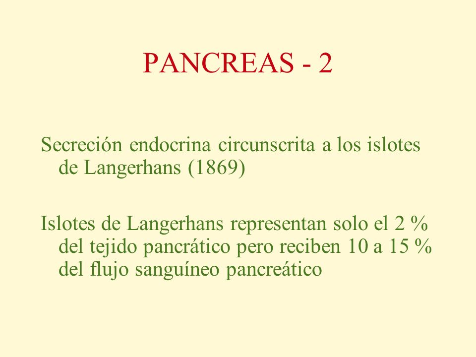 PANCREAS - 2 Secreción endocrina circunscrita a los islotes de Langerhans (1869) Islotes de Langerhans representan solo el 2 % del tejido pancrático p