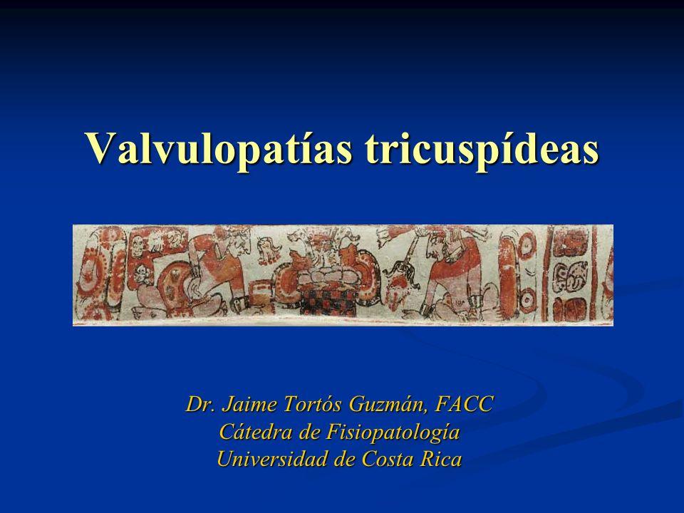 Valvulopatías tricuspídeas Dr. Jaime Tortós Guzmán, FACC Cátedra de Fisiopatología Universidad de Costa Rica