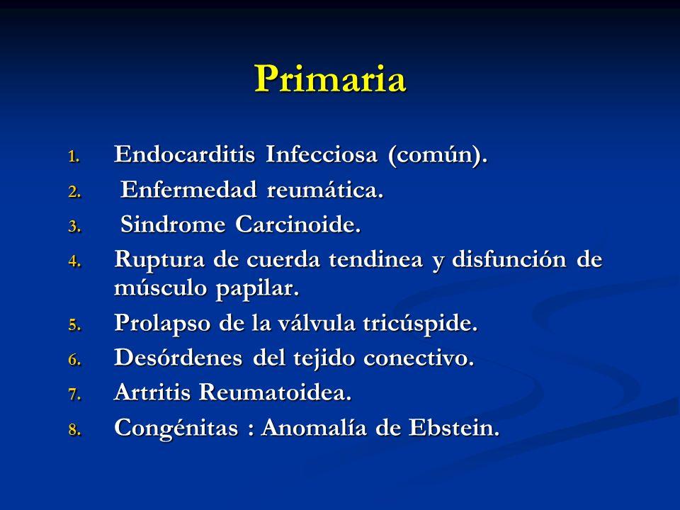Primaria 1. Endocarditis Infecciosa (común). 2. Enfermedad reumática. 3. Sindrome Carcinoide. 4. Ruptura de cuerda tendinea y disfunción de músculo pa