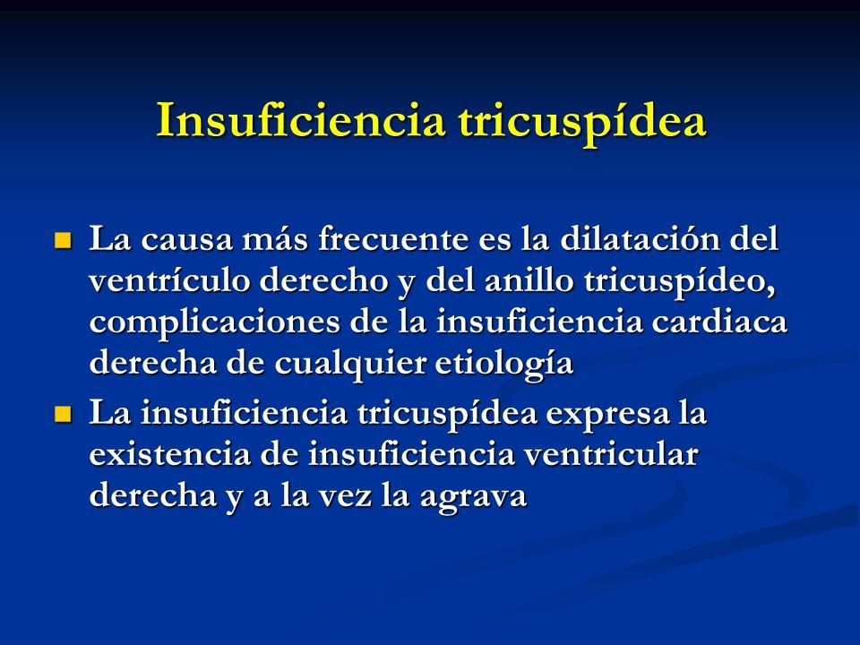 Insuficiencia tricuspídea La causa más frecuente es la dilatación del ventrículo derecho y del anillo tricuspídeo, complicaciones de la insuficiencia