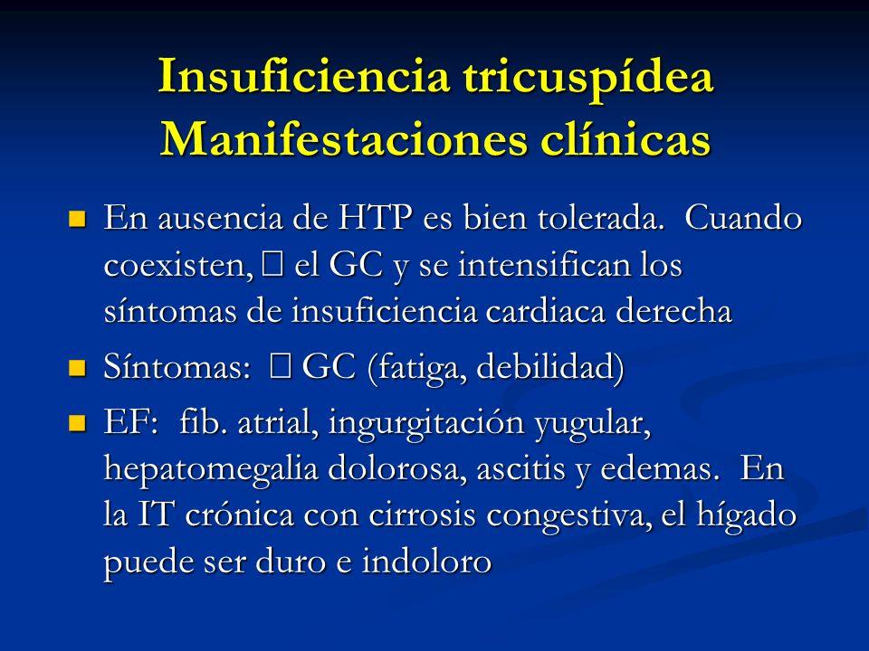 Insuficiencia tricuspídea Manifestaciones clínicas En ausencia de HTP es bien tolerada. Cuando coexisten, el GC y se intensifican los síntomas de insu