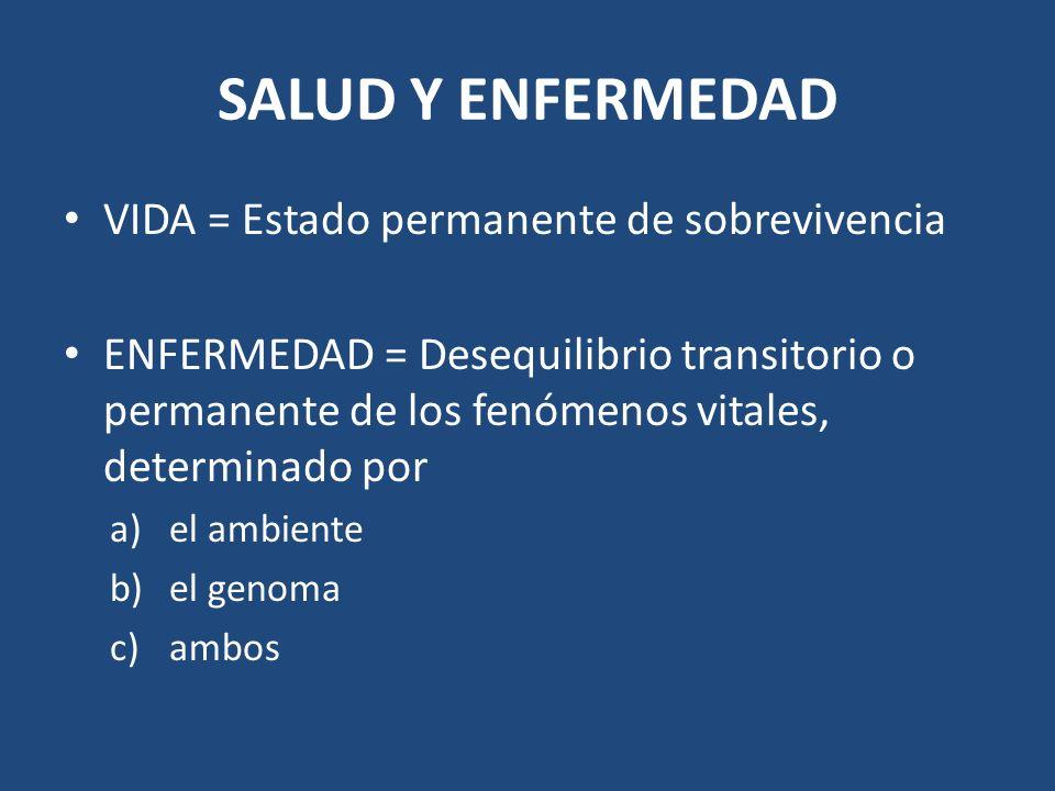 SALUD Y ENFERMEDAD VIDA = Estado permanente de sobrevivencia ENFERMEDAD = Desequilibrio transitorio o permanente de los fenómenos vitales, determinado