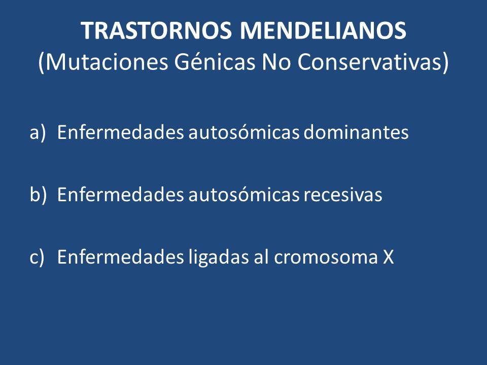 TRASTORNOS MENDELIANOS (Mutaciones Génicas No Conservativas) a)Enfermedades autosómicas dominantes b)Enfermedades autosómicas recesivas c)Enfermedades