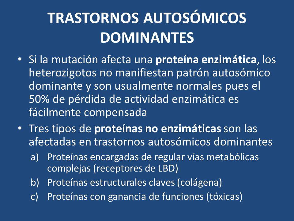 TRASTORNOS AUTOSÓMICOS DOMINANTES Si la mutación afecta una proteína enzimática, los heterozigotos no manifiestan patrón autosómico dominante y son us