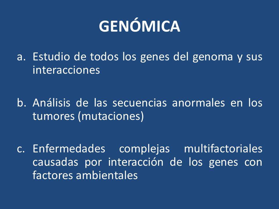 GENÓMICA a.Estudio de todos los genes del genoma y sus interacciones b.Análisis de las secuencias anormales en los tumores (mutaciones) c.Enfermedades