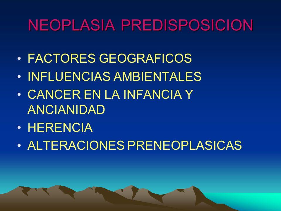 NEOPLASIA PREDISPOSICION FACTORES GEOGRAFICOS INFLUENCIAS AMBIENTALES CANCER EN LA INFANCIA Y ANCIANIDAD HERENCIA ALTERACIONES PRENEOPLASICAS