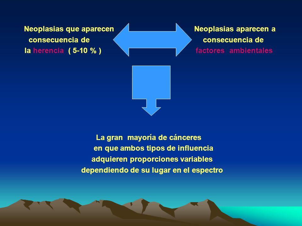 Neoplasias que aparecen Neoplasias aparecen a consecuencia de consecuencia de la herencia ( 5-10 % ) factores ambientales La gran mayoría de cánceres