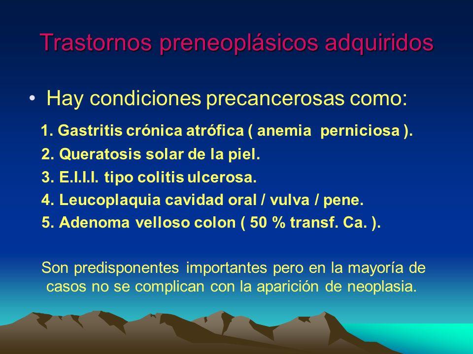 Trastornos preneoplásicos adquiridos Hay condiciones precancerosas como: 1. Gastritis crónica atrófica ( anemia perniciosa ). 2. Queratosis solar de l