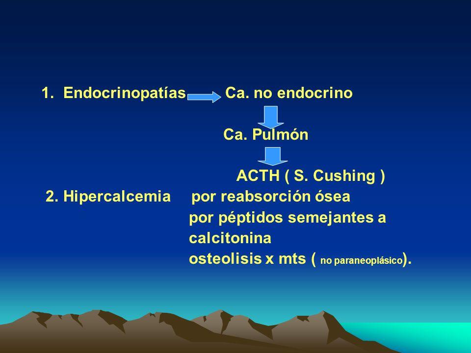 1. Endocrinopatías Ca. no endocrino Ca. Pulmón ACTH ( S. Cushing ) 2. Hipercalcemia por reabsorción ósea por péptidos semejantes a calcitonina osteoli