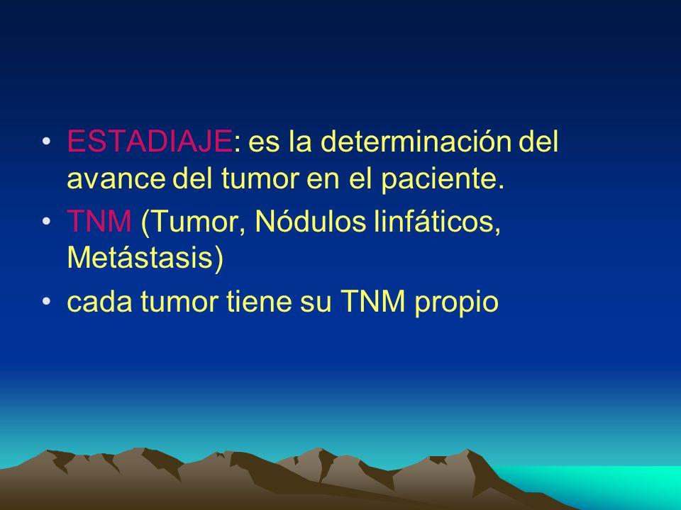 ESTADIAJE: es la determinación del avance del tumor en el paciente. TNM (Tumor, Nódulos linfáticos, Metástasis) cada tumor tiene su TNM propio