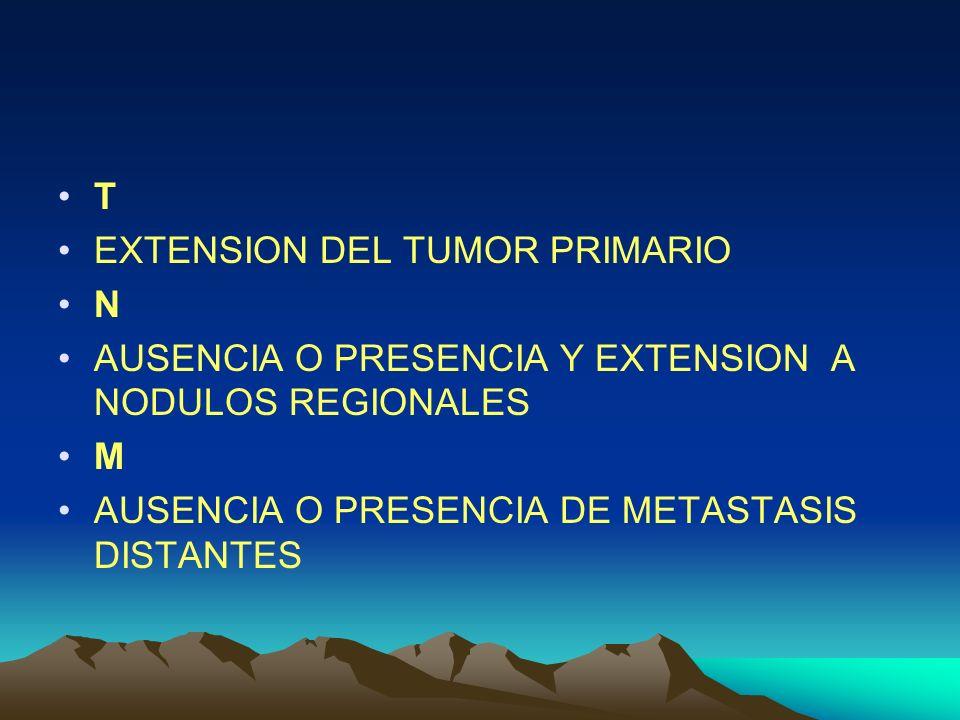 T EXTENSION DEL TUMOR PRIMARIO N AUSENCIA O PRESENCIA Y EXTENSION A NODULOS REGIONALES M AUSENCIA O PRESENCIA DE METASTASIS DISTANTES