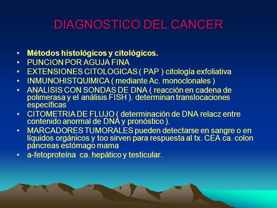 DIAGNOSTICO DEL CANCER Métodos histológicos y citológicos. PUNCION POR AGUJA FINA EXTENSIONES CITOLOGICAS ( PAP ) citología exfoliativa INMUNOHISTQUIM
