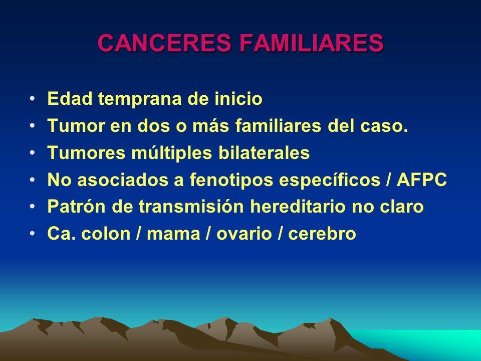 CANCERES FAMILIARES Edad temprana de inicio Tumor en dos o más familiares del caso. Tumores múltiples bilaterales No asociados a fenotipos específicos