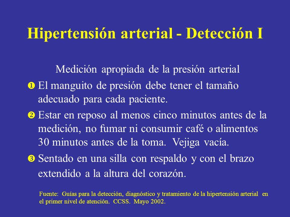 Hipertensión arterial - Detección I Medición apropiada de la presión arterial El manguito de presión debe tener el tamaño adecuado para cada paciente.