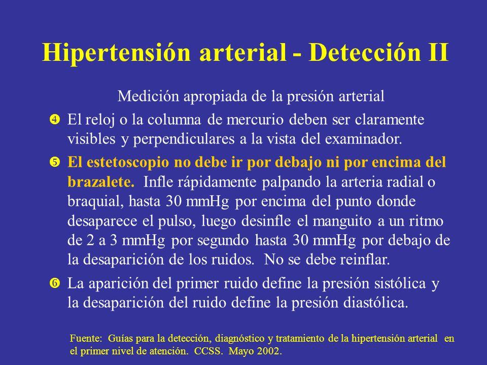Hipertensión arterial - Detección II Medición apropiada de la presión arterial El reloj o la columna de mercurio deben ser claramente visibles y perpe