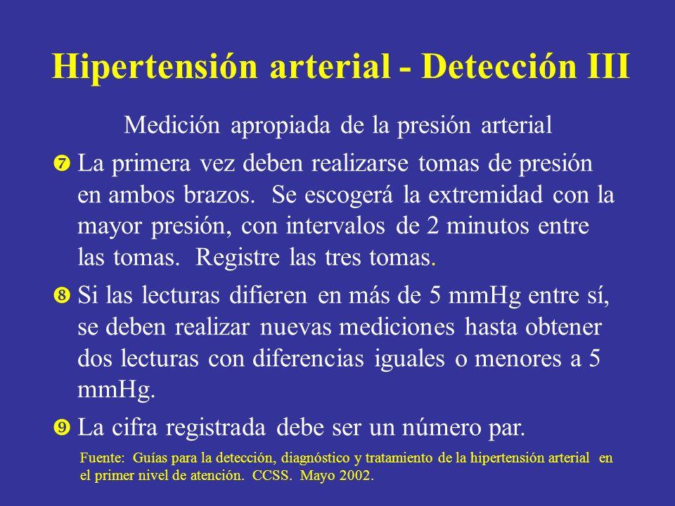 Hipertensión arterial - Detección III Medición apropiada de la presión arterial La primera vez deben realizarse tomas de presión en ambos brazos. Se e