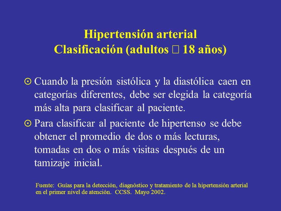 Hipertensión arterial Clasificación (adultos 18 años) Cuando la presión sistólica y la diastólica caen en categorías diferentes, debe ser elegida la c