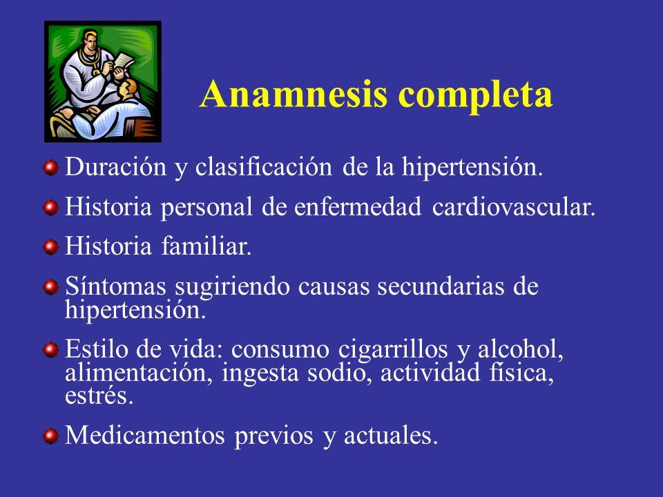 Anamnesis completa Duración y clasificación de la hipertensión. Historia personal de enfermedad cardiovascular. Historia familiar. Síntomas sugiriendo