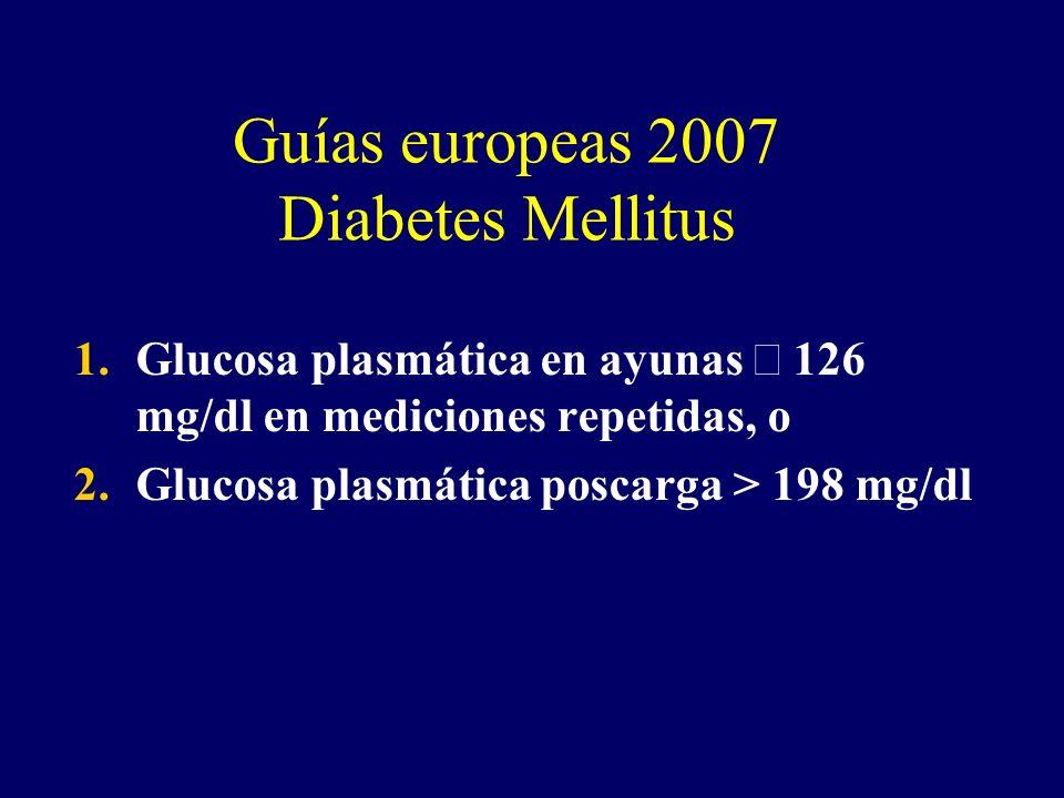 Guías europeas 2007 Diabetes Mellitus 1.Glucosa plasmática en ayunas 126 mg/dl en mediciones repetidas, o 2.Glucosa plasmática poscarga > 198 mg/dl