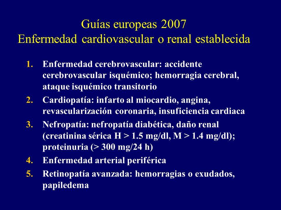 Guías europeas 2007 Enfermedad cardiovascular o renal establecida 1.Enfermedad cerebrovascular: accidente cerebrovascular isquémico; hemorragia cerebr