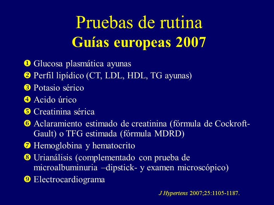 Pruebas de rutina Guías europeas 2007 Glucosa plasmática ayunas Perfil lipídico (CT, LDL, HDL, TG ayunas) Potasio sérico Acido úrico Creatinina sérica