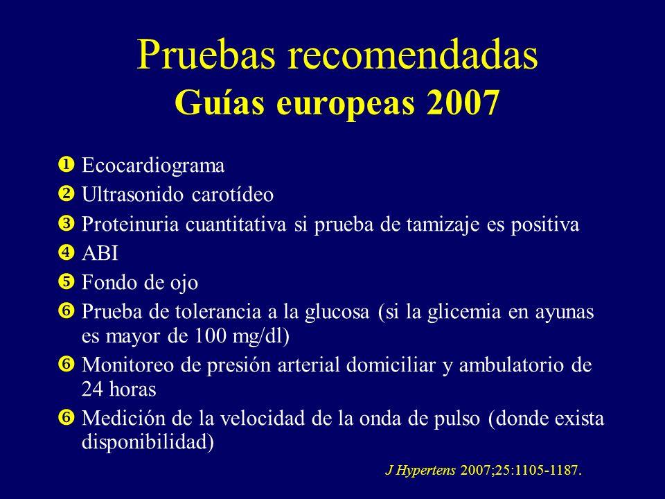 Pruebas recomendadas Guías europeas 2007 Ecocardiograma Ultrasonido carotídeo Proteinuria cuantitativa si prueba de tamizaje es positiva ABI Fondo de