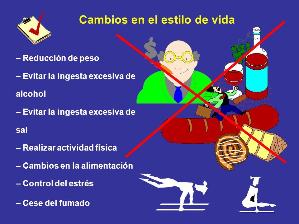 Cambios en el estilo de vida – Reducción de peso – Evitar la ingesta excesiva de alcohol – Evitar la ingesta excesiva de sal – Realizar actividad físi