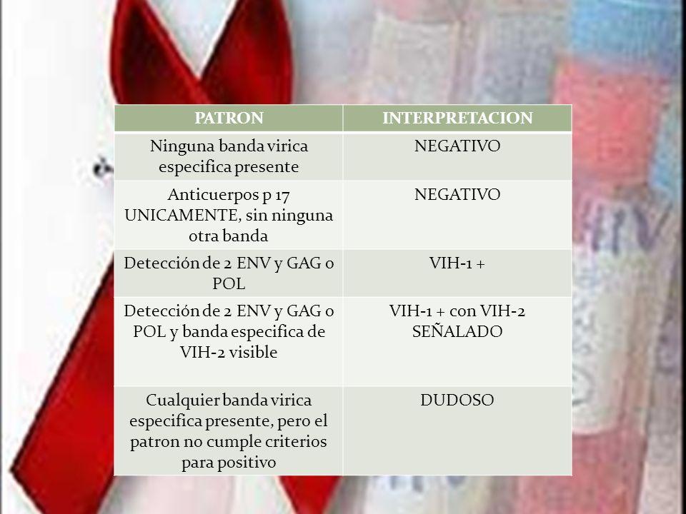 PATRONINTERPRETACION Ninguna banda virica especifica presente NEGATIVO Anticuerpos p 17 UNICAMENTE, sin ninguna otra banda NEGATIVO Detección de 2 ENV