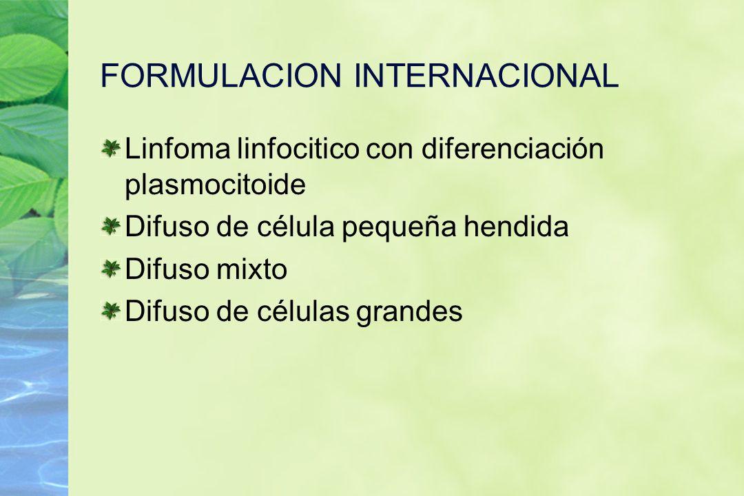 FORMULACION INTERNACIONAL Linfoma linfocitico con diferenciación plasmocitoide Difuso de célula pequeña hendida Difuso mixto Difuso de células grandes