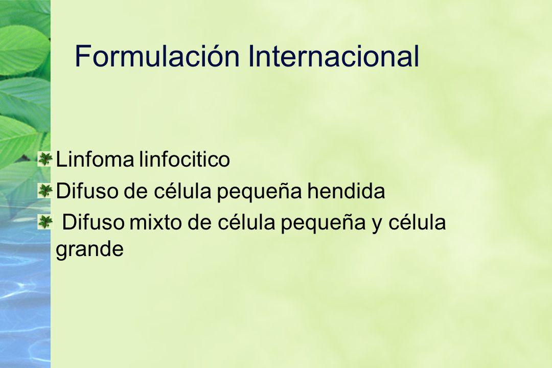 Formulación Internacional Linfoma linfocitico Difuso de célula pequeña hendida Difuso mixto de célula pequeña y célula grande