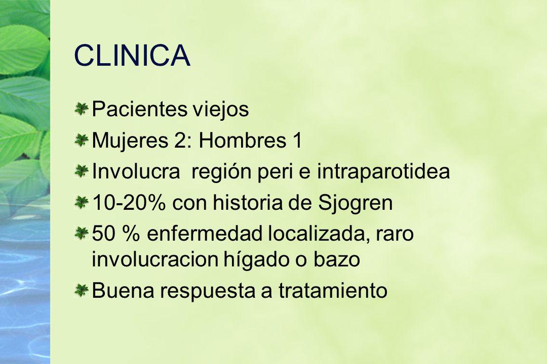 CLINICA Pacientes viejos Mujeres 2: Hombres 1 Involucra región peri e intraparotidea 10-20% con historia de Sjogren 50 % enfermedad localizada, raro i