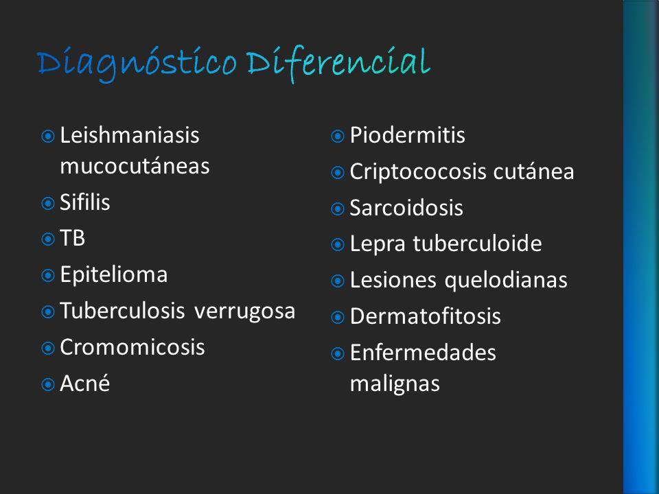 Leishmaniasis mucocutáneas Sifilis TB Epitelioma Tuberculosis verrugosa Cromomicosis Acné Piodermitis Criptococosis cutánea Sarcoidosis Lepra tubercul