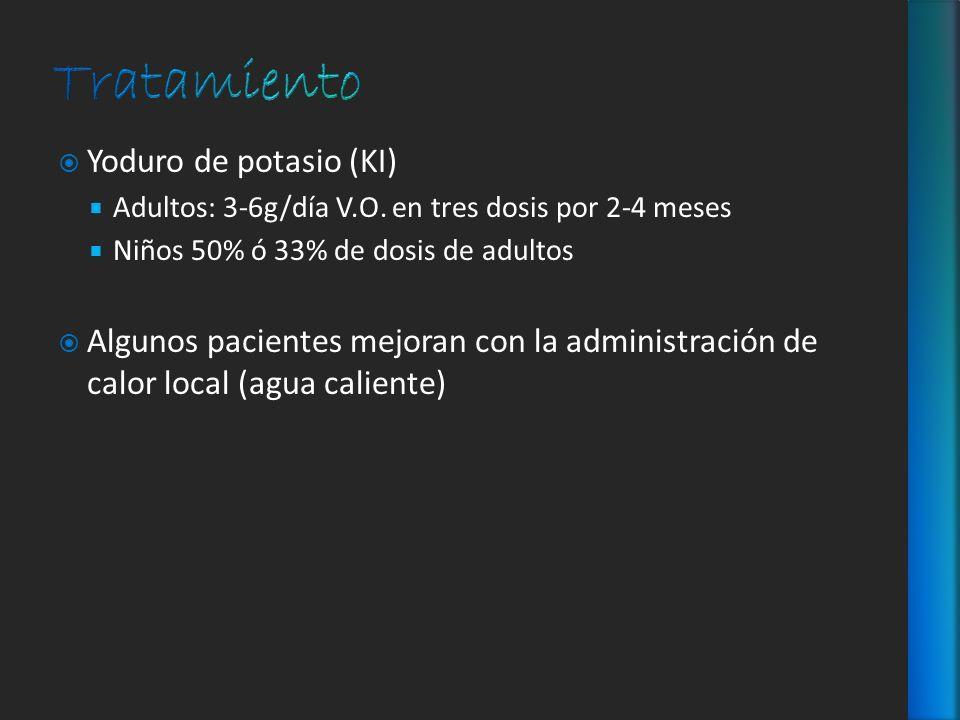 Yoduro de potasio (KI) Adultos: 3-6g/día V.O. en tres dosis por 2-4 meses Niños 50% ó 33% de dosis de adultos Algunos pacientes mejoran con la adminis
